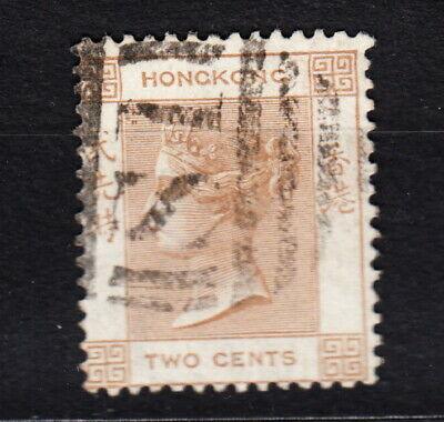 1865 Hong Kong Two Cents #8 Used  Wtmk Queen Victoria Light Brown