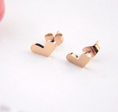Heart Titanium Earrings - Rose Gold Titanium Stainless Steel Heart Spade Stud Earrings 6x6mm Gift Box PE9