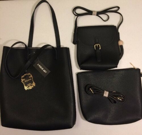 Alyssa Vegan-3 in 1 Women's Handbag in Black NWT