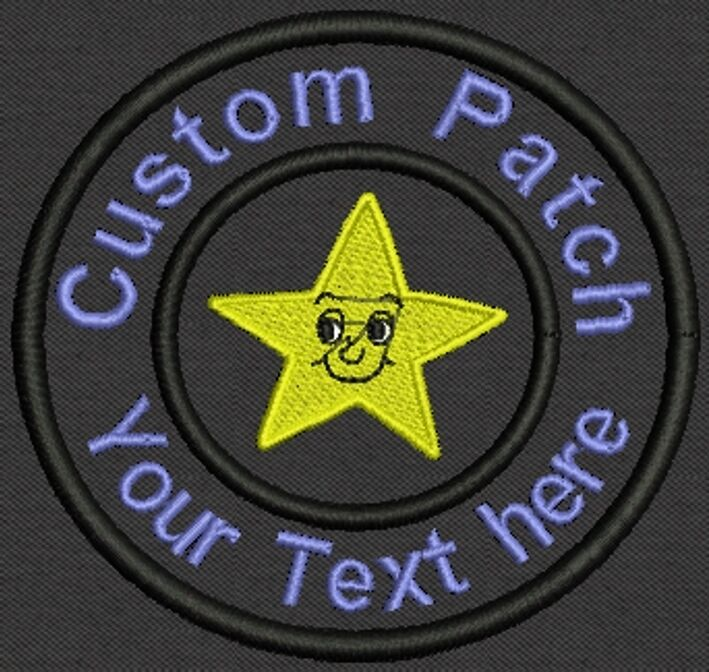 """Star 3.5"""" Circle Patch - Add text -Tag, Badge, Label -  Iron On, or Sew On"""