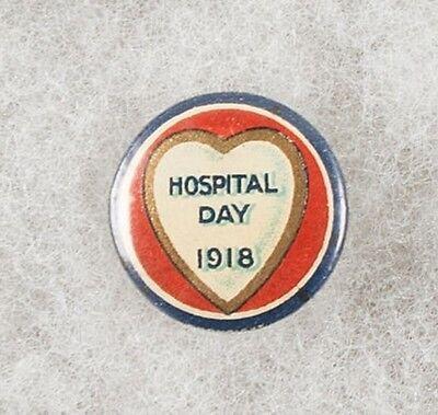 World War One Australia Hospital Day 1918 Heart Pinback Button Badge - scarce