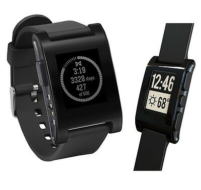 Pebble Smartwatch Wrist Watch(301BL)Activity Sleep Tracker+Call/Text/Email Black