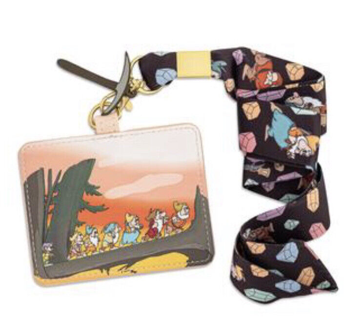 DISNEY LOUNGEFLY SNOW WHITE AND THE SEVEN DWARFS LANYARD WITH CARDHOLDER