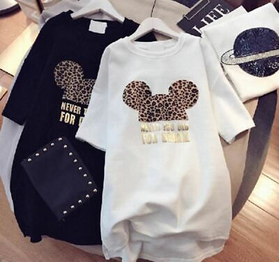 Minnie Mickey Mouse Woman Dress Short Sleeve Leopard Casual Mini Fashion Summer](Mickey Mouse Dress For Women)
