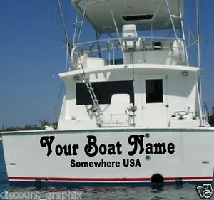 Custom Transom Boat Name Vinyl Decal Business Lettering