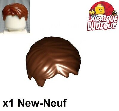 Lego New Dark Brown Minifigure Hair Short Tousled with Side Part Boy Wig