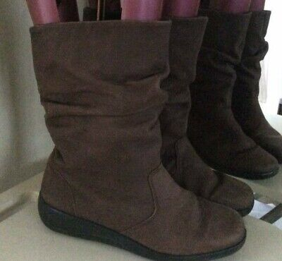 HOTTER * JADE* Brown soft leather wedge slouch ankle boots 5 UK 38 EU BNWOB