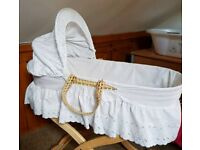 Clair de Lune White Broderie Anglaise Moses Basket