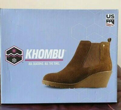 Women's Khombu Memory Foam Suede Leather Wedge Ankle Boots Uk 4 / us 6