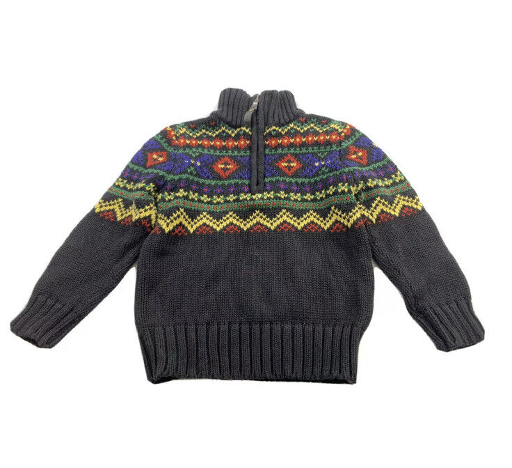 Polo Ralph Lauren Boys Size 3T Toddler Sweater 1/4 Zip Nordic Fair Isle