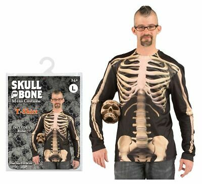 Halloween Costume Grande Scheletro T-Shirt Uomo Spaventosa Festa Zombie