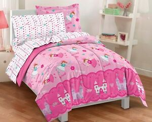 NEW Magical Princess Hearts Pink Girls Bedding Comforter Sheet Set Twin