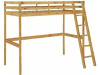 Pine over desk bunk bed with mattress