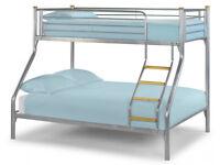 Triple Sleeper, Metal, Bunk Bed, Double, Single, Mattress, Mesh Base bottom. Wooden ladder,
