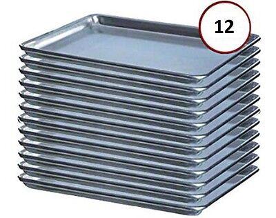 12-pack 18 X 13 Half Size 19 Gauge Aluminum Bun Sheet Pan - Wire In Rim