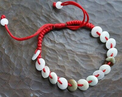 100% Natural (Grade A) Untreated Jadeite Jade Circle Donuts Bracelet #Br226