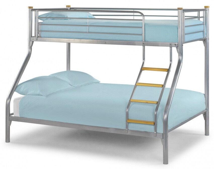 Triple Sleeper, Metal, Bunk Bed, Double, Single, Mattress, Mesh Base. Wooden ladder,