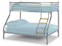 Triple Sleeper, Metal, Bunk Bed, Double, Single, Mattress, Mesh Base. Sturdy.