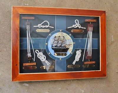 Maritime Deko Knotentafel ca. 38 x 28 cm aus Holz und Glas