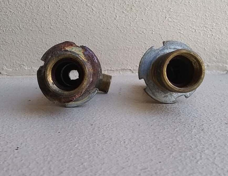 Lot Of 2 VINTAGE Brass Pipe Under The Sink Hot Cold Water Steampunk - $9.95