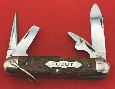 Vintage ROBESON ShurEdge Rochester Unofficial Scout Pocket Knife c1922-1939 Bone
