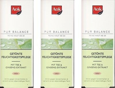 (100ml=5,93€) 3x Aok Pur Balance Getönte Feuchtigkeitspflege Natur , 3x50ml