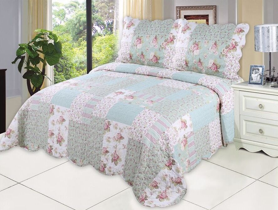 English Roses Bedding Quilt Bedspread Coverlet 3 PC Reversib