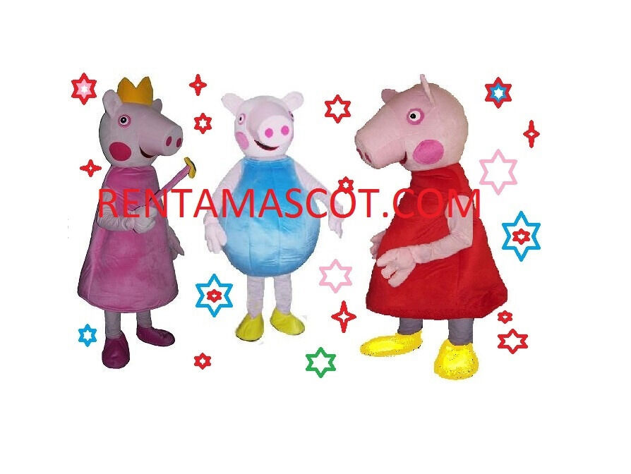 PEPPA PIG GEORGE PIG MASCOT FANCY DRESS ADULT SIZED COSTUME EVENT PARTY HIRE