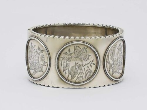 STUNNING RARE VICTORIAN AESTHETIC MOVEMENT SOLID SILVER BANGLE HM1874 GREAT GIFT