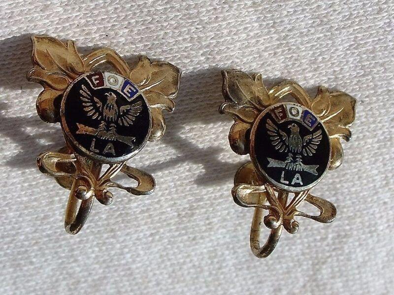 Vintage FOE Marked Sterling Screw on Earrings Fraternal Order of Eagles
