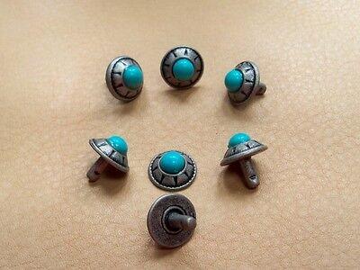 """25 Conchos rivet back antique silver ANTIK Corp turquoise stone 3/8"""" vintage"""