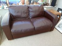 Real Leather 2 Seater Settee - Dark Burgundy