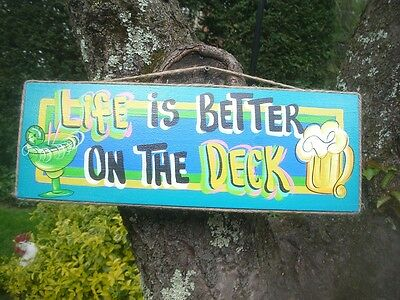 LIFE IS BETTER ON THE DECK  TROPICAL TIKI HUT BAR BEACH POOL PATIO PLAQUE