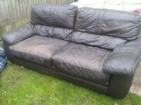 Sell triple sofa. leather, brown a little mashed
