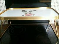 Lovely Vintage Folding 1960's Retro Gold Rose Large Tea tray for a trolley.