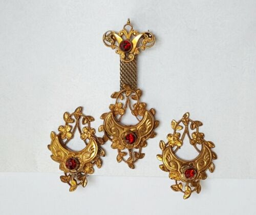 Art Nouveau Red Rhinestone Hanging Brooch Pin and Earrings