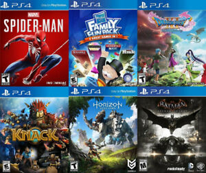 Selling/Trading PS4 Spiderman, Dragon Quest 11, Family Fun, more