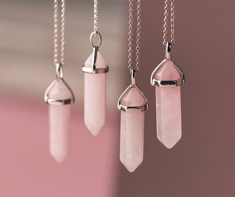 Rose Quartz Point Pendant Gemstone Natural Stone Love Heart