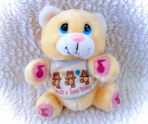 Vintage 1980's Touch A Tune Teddy Bear Plush Plushie Stuffed