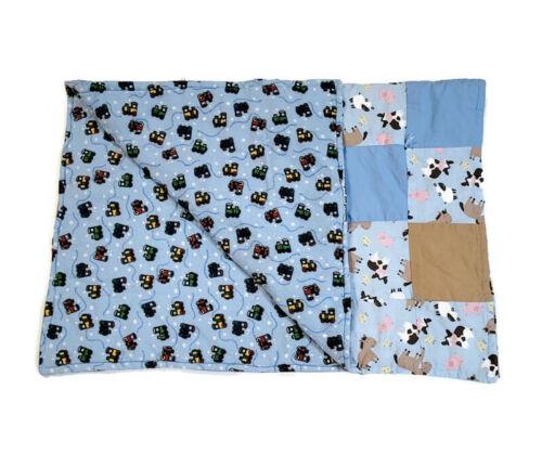 Handmade Baby Quilt Blanket Reversible Unique Multicolor Farm Animals & Trains