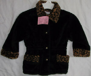 Girls Size 3 Black & Print Fur Coat London Ontario image 1