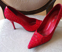 Cherry Red glittery, sparkly heels