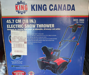 King Canada Electric Snow Thrower Cornwall Ontario image 1