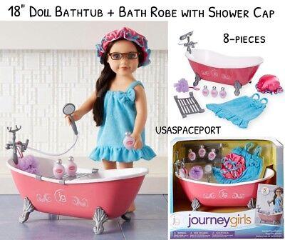 "18"" Doll BUBBLE TIME Claw Foot BATH-TUB + Spa Robe for Journey American Girl Boy"
