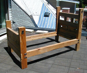 bed - single bed made from salvaged barn board and timbers