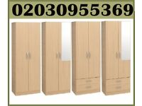 BRAND NEW -2 Door Solid Wood Plain Wardrobe With Drawers & Mirror * delivery only in london