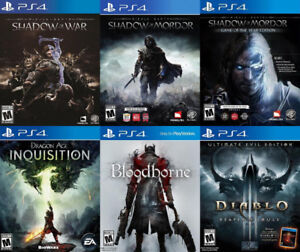 Selling/Trading PS4 Shadow War, Mordor, Dragon Age, Diablo, more