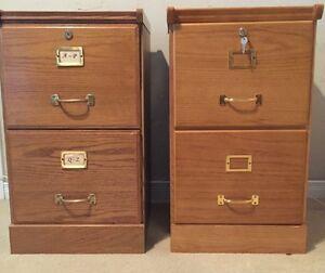 (2) Two Drawer Oak Veneer Filing Cabinets