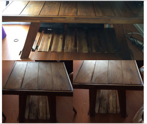 Solid wood coffee table and matching end tables