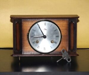 Mantel Vintage Mechanical Clock With Key Made In Germany.
